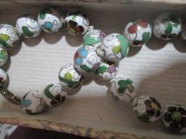 "Chinese enamel bead necklace,14"" long, original box from China, beautifu... - $14.85"