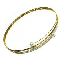 18K YELLOW GOLD MAGICWIRE BANGLE BRACELET, ELASTIC WORKED MULTI WIRES, PEARLS image 1