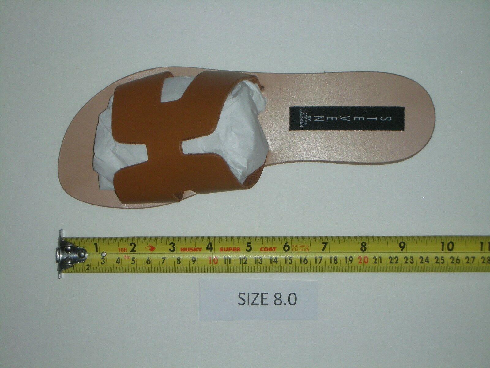 Steven by Steve Madden Greece Flat Sandals Slides Cognac Leather Size 8.0