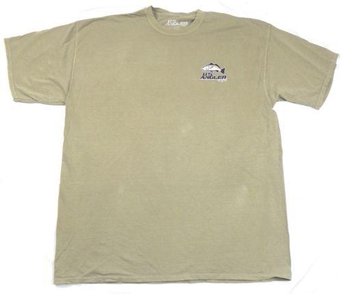 Men's U.S. Angler Shirt Fishing Tee Randy McGovern Fish Design T-Shirt Khaki