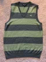 Express Mens Sweater Vest Small Green Striped V-Neck Sleeveless 100% Mer... - $18.66