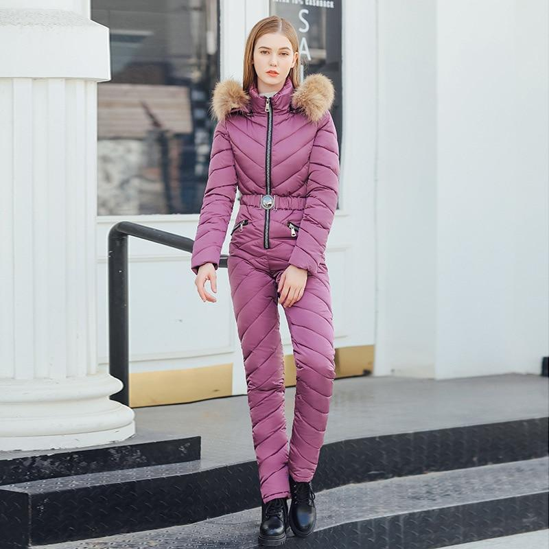 Elegant women ski suit casual warm siamese cotton padded hooded jacket coat new solid color one
