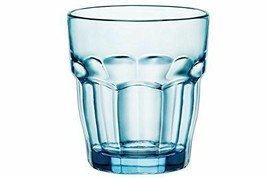 Bormioli Rocco Rock Bar Lounge Blue Tinted Glass 4 Pack Stackable Size 9... - $42.56