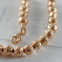 18K ROSE PINK GOLD BRACELET WITH FINELY WORKED SPHERES 5 MM BALLS MADE IN ITALY image 2