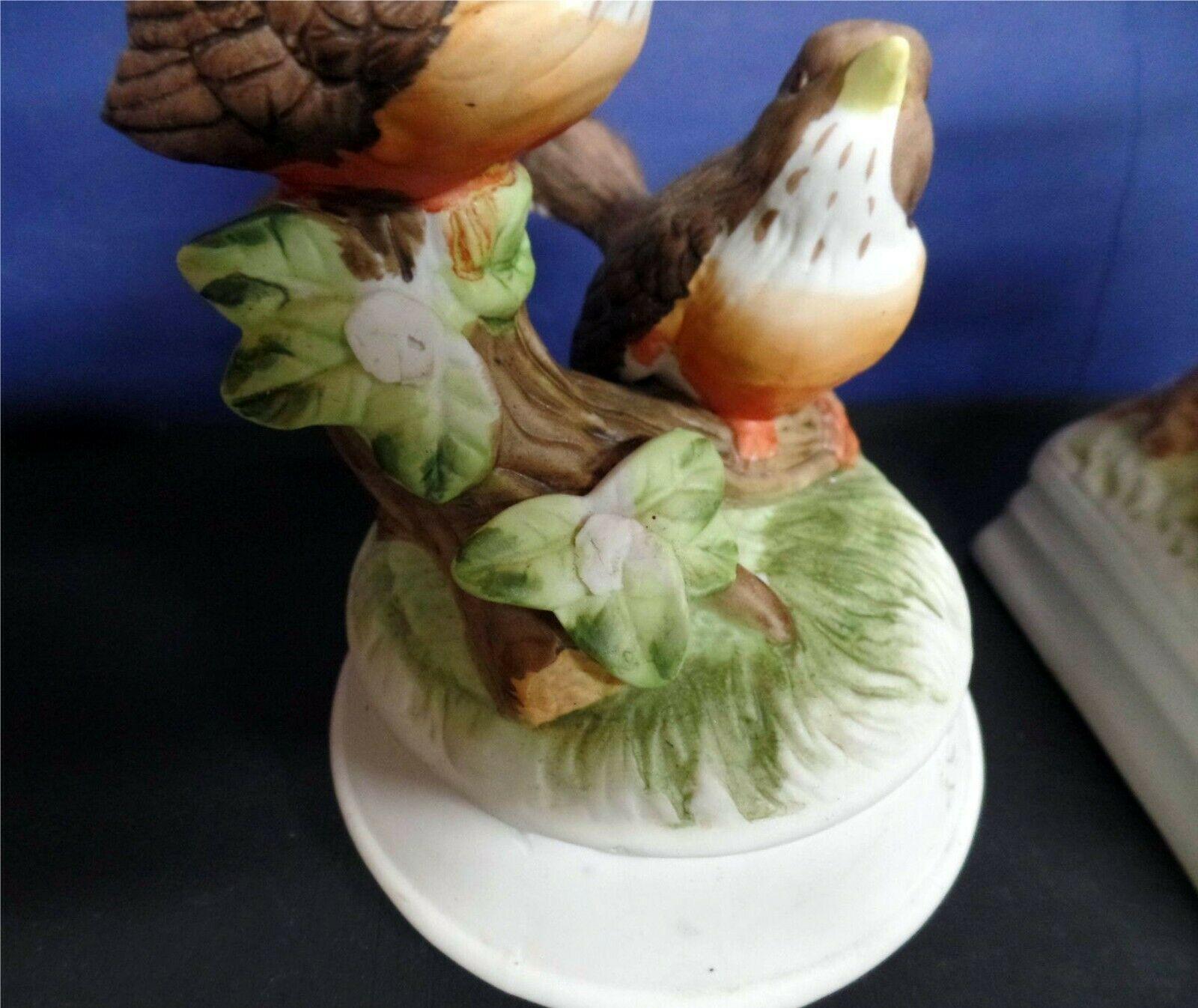 Arnart Gorham Bird bisque porcelain music box pair image 2