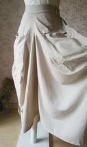 Women Loose LINEN SKIRT Summer Casual Boho Skirt Big Pockets Asymmetrical Skirt image 4
