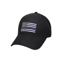 Lot of 12 Thin Blue Line USA Police Memorial American Black 100% Cotton Cap Hat - $144.44