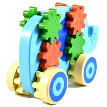 Applesauce Elephant Baby Wooden Pull Toy w Gears for Children Ages 18+ Month image 4
