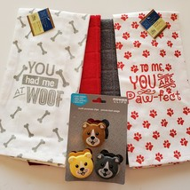 Dog Lover Kitchen Set, 7-pc, Pet Decor, Tea Towels, Clips, Red Grey image 2