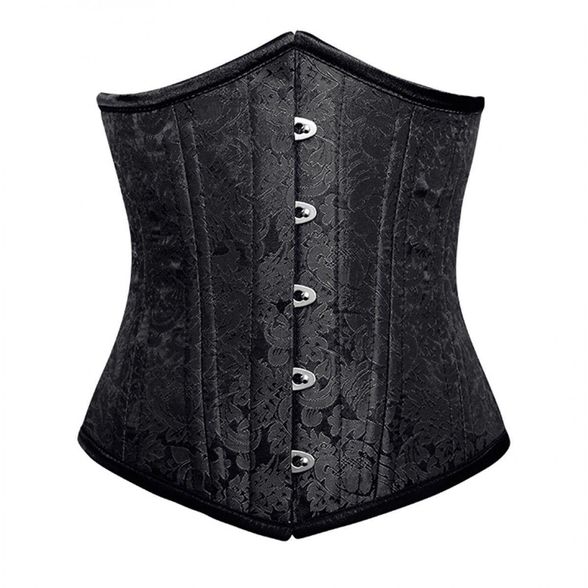 Black Brocade Double Bone Bustier Gothic Basque Underbust Corset Costume