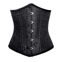 Black Brocade Double Bone Bustier Gothic Basque Underbust Corset Costume - $65.83+