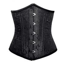Black Brocade Double Bone Bustier Gothic Basque Underbust Corset Costume - $65.83+