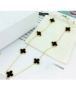 """18K Gold Plated Black Shell Quatrefoil Necklace -18""""inches - $23.73"""