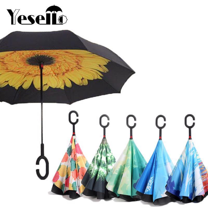 Umbrella Double Layer Reverse Folding Inverted Handle Windproof Designed Parasol