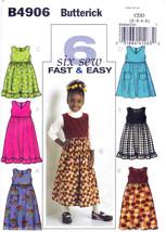 Butterick B4906 Girls Dresses Sewing Pattern Childrens 6 Looks Kid Sizes... - $7.95