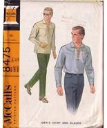 Men's Shirt & Slacks - Vintage McCall's Pattern #8475 Chest Size 36 - $9.99