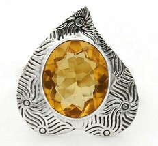 4CT Golden Citrine 925 Solid Sterling Silver Ring Jewelry Sz 6, EA31-1 - $29.69