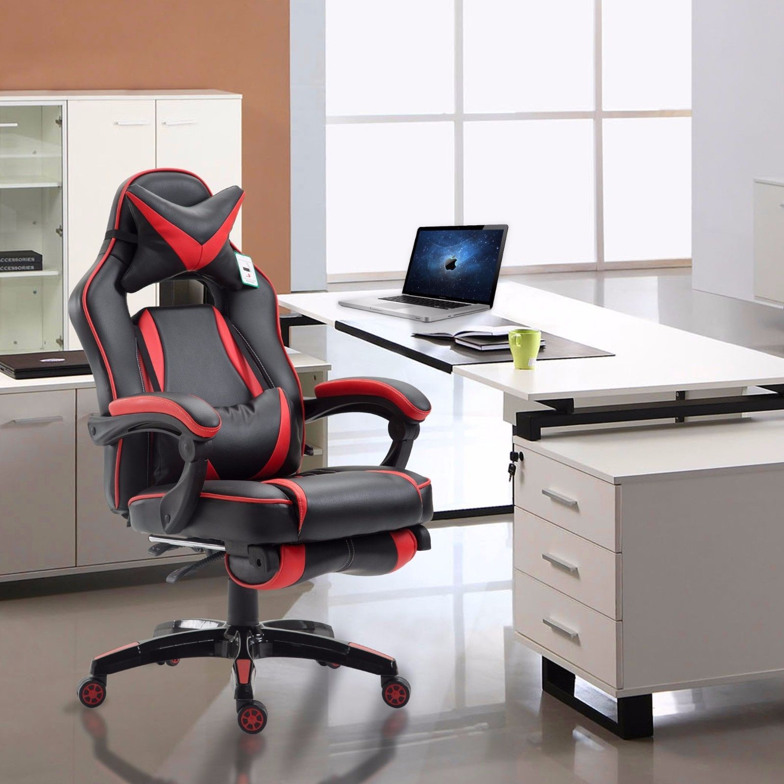 High Back Reclining Office Chair Executive Race Style Gaming Footrest PU Swivel