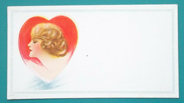 PIN-UP Girl Lovely Blond in Red Heart - 1950s INK BLOTTER AD - $6.30