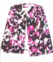 Sz 10 ~ NWT$70 Dressbarn Black, Pink & White Floral Print Dress Blazer Jacket - $42.75