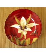 Orchid & Hummingbird Pattern Burgundy Fine Porcelain Luncheon/Salad Plates - $20.00