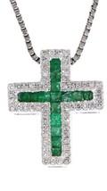 Smeraldo Pietra Zodiacale 14K Oro Bianco 0.36ct Ct Religioso Croce - $1,194.92