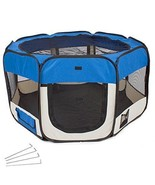 Fabric Pet Puppy Play Yard Indoor Play Pen Foldable Ideal For Dogs Cats ... - $55.18