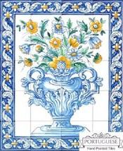 FLOWERS Colourful Hand Painted Ceramic Tiles Portuguese Mural Backsplash... - $638.55
