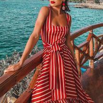 Women's Vintage Red White Striped Long Summer  Maxi Sundress image 3