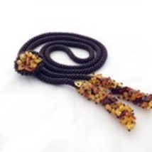 Brown beads crochet necklace lariat with amber, long beaded necklace for... - $30.00