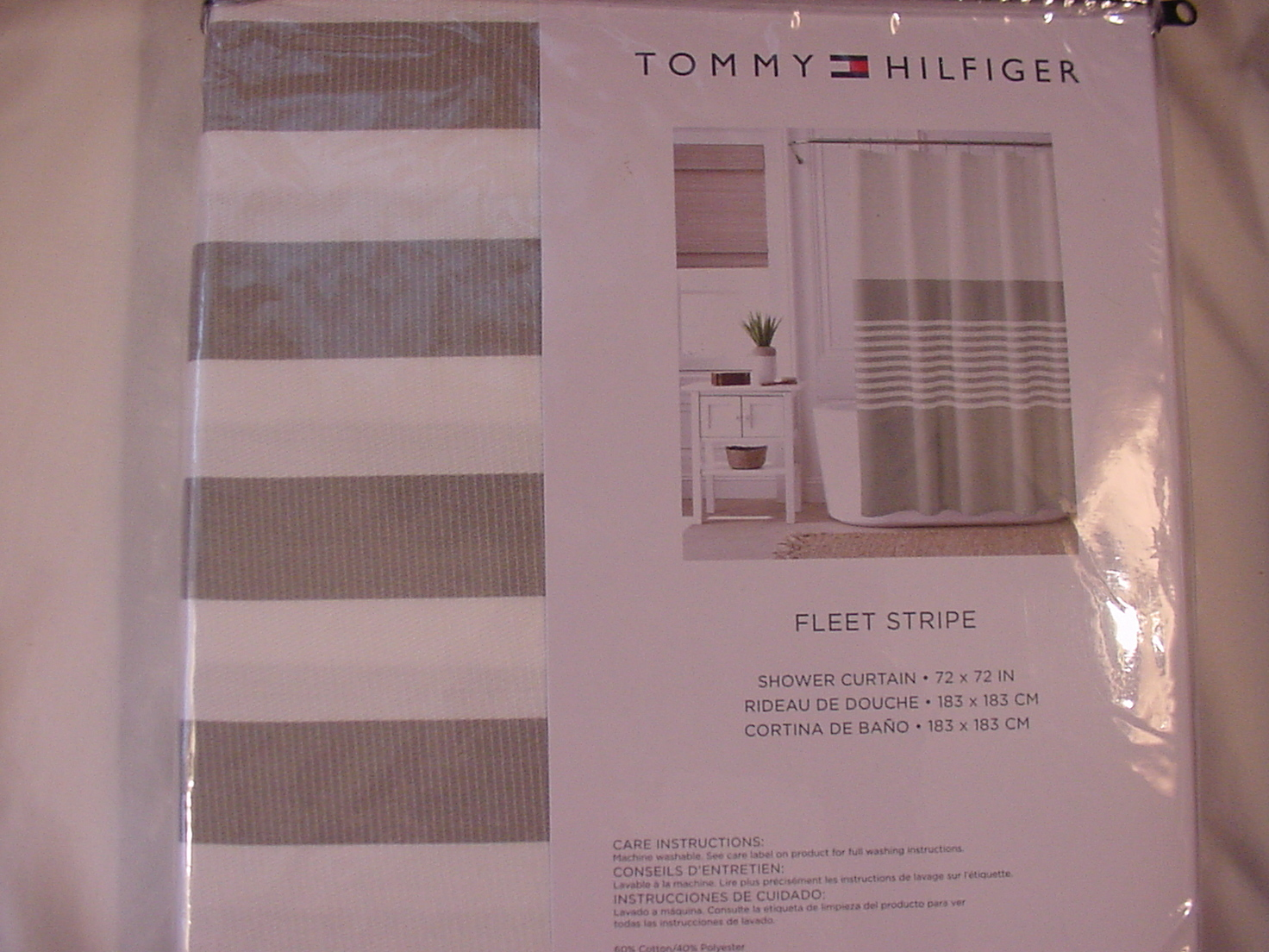 Tommy Hilfiger Fleet Stripe Gray and White Shower Curtain