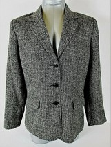SAG HARBOR womens Sz 12P gray TWEED 3 button FULLY LINED jacket (A5) - $38.88