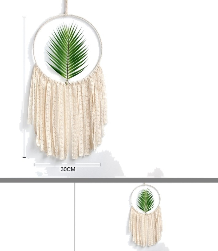 Macrame Wall Art Tapestry Hanging With White Tassels Green Leaf Dream Catcher Ho