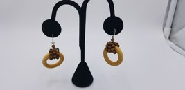 Fashion Pair Of Tan Wood With Brown Wooden Beads Hoop Earrings BOHO Style EUC - $7.68