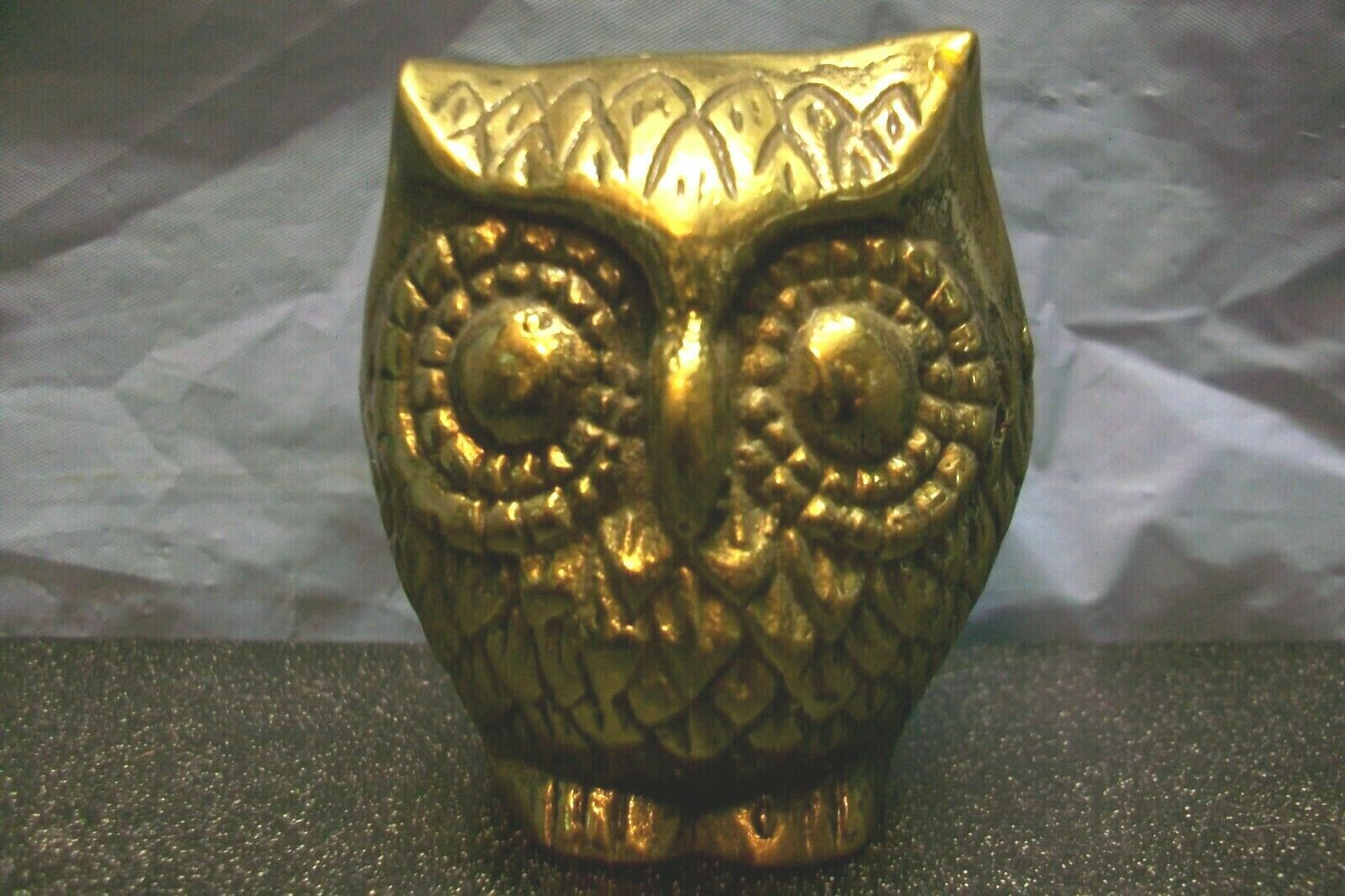 "HEAVY SOLID BRASS OWL 2-3/8"" HIGH PAPERWEIGHT NICK KNACK BIRD STATUE FIGURE WOW"