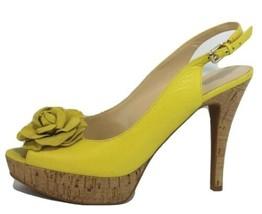 Nine West Femmes Talons Chaussures Open Toe Plateforme en Cuir Jaune Taille 9.5M - $16.61