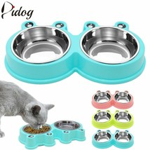 Bowl Stainless Steel Dog Double Pet Feeder Cat Dog Feeder Dog Food Dispe... - $15.18