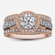 14K Two Tone Plated 925 Silver Round Cut Sim Diamond Women's Engagement Ring Set - $129.99