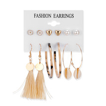 Tassel Acrylic Resin Brincos Female Fashion Big Dangle Drop Earrings  - $14.50