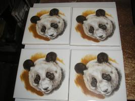 Beautiful Panda Bear ceramic tile drink coaster set of 4 - $8.16