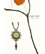 Heritage Drop Necklace:ivory vintage button, antique brass filigree flor... - $15.00