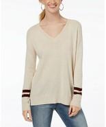 Hippie Rose Juniors' Oatmeal V-Neck High-Low Varsity Striped Sweater Siz... - $12.51