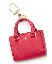 Tory Burch Leather Robinson Mini Tote Bag Charm Key Fob Dark Peony - $71.53