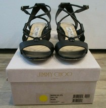 "JIMMY CHOO Black Leather ""Margo"" Crisscross 40mm Sandals - Size 37.5 - $249.99"