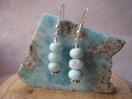 Natural Dominican Larimar 925 Sterling Silver Earrings,Drop Length 3.3 c... - $33.00