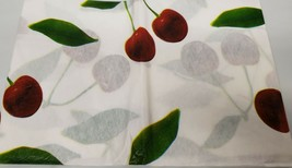"Thin FLANNEL BACK Vinyl Tablecloth 52"" x 90"" Oblong (6-8 pp) CHERRIES by BH - $8.90"