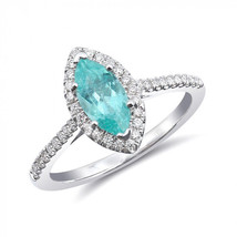 14k White Gold 0.98ct TGW Paraiba Tourmaline and Diamond Engagement Ring - $1,812.00