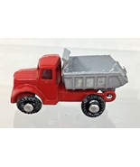 Antique Japan Metal Truck Red & Grey Dump Truck Moves 1 5/8 x 3/4 T3 - $18.32