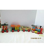 Vintage 1963 Fisher Price Huffy Puffy Railroad Locomotive Train WoodToy COMPLETE - $21.78