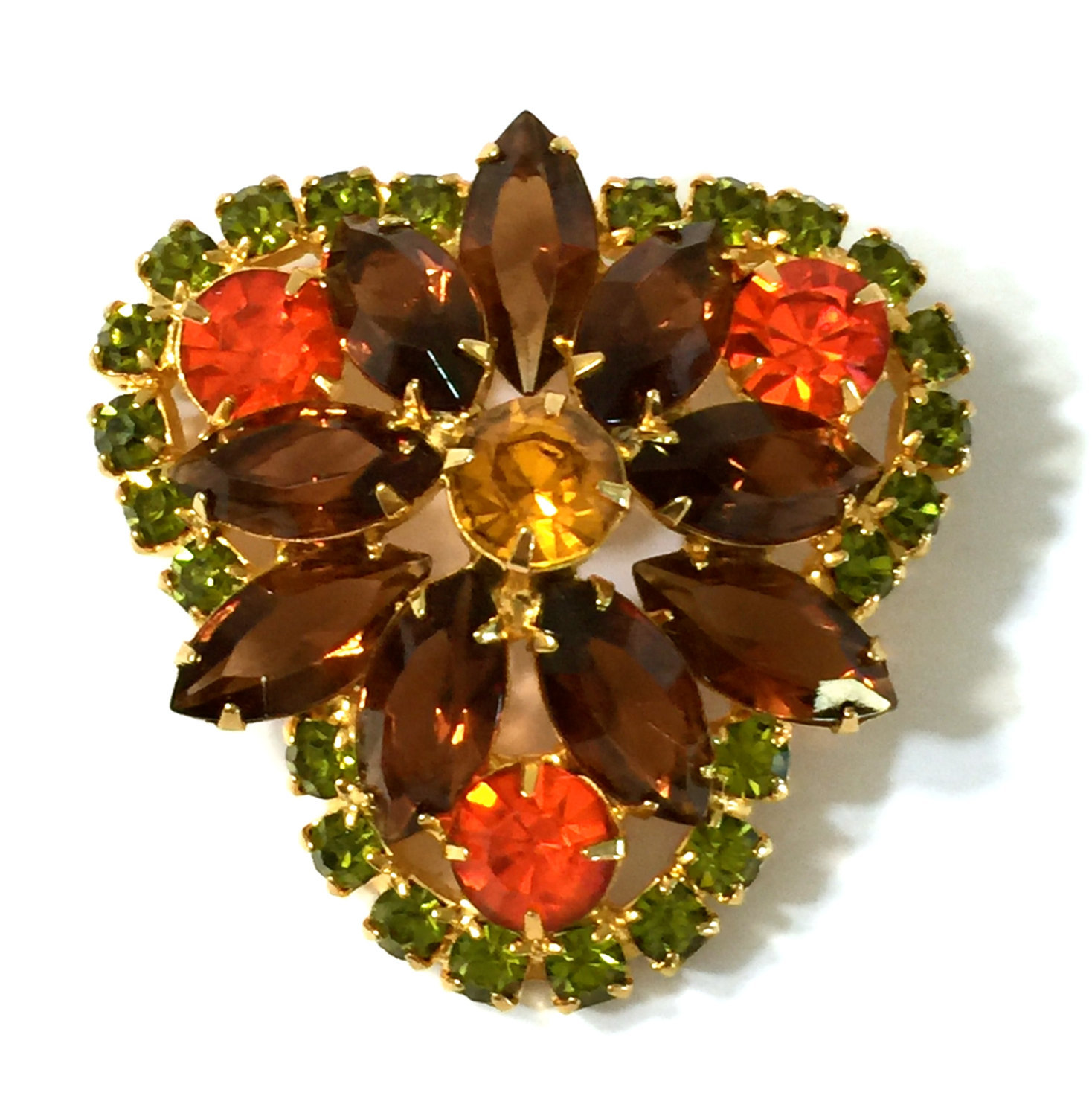 Juliana D&E Rhinestone Brooch Autumn Colors of Hyacinth Sable & Olivine Domed - $44.57